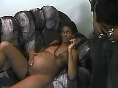 Ebony preggo sucks cock and screwed